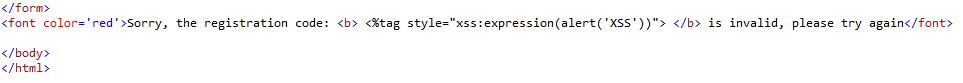 xss in the html