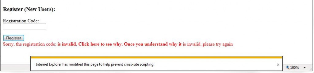 IE9 XSS protection