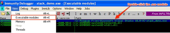 view executable modules